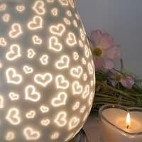White Satin Hearts Touch Sensitive Aroma Lamp